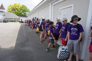 Campers and counselors lined up to go into Seabreeze