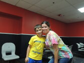 Camper and Counselor at bowling alley