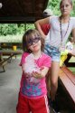 Camper holding bubbles in her hand